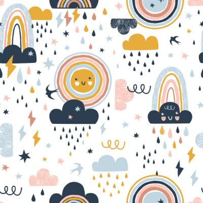 Tapeta Seamless cute pattern with hand drawn rainbows, rain drops, clouds sun and martlets. Creative scandinavian childish background for fabric, wrapping, textile, wallpaper, apparel. Vector illustration