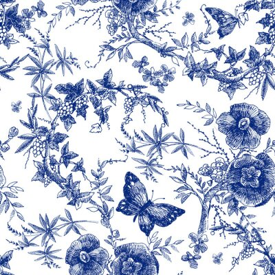Tapeta seamless design with roses flowers. Fairytale forest. hand drawn vintage botanical pattern line graphics. fashion textile design Indigo color. floral illustration