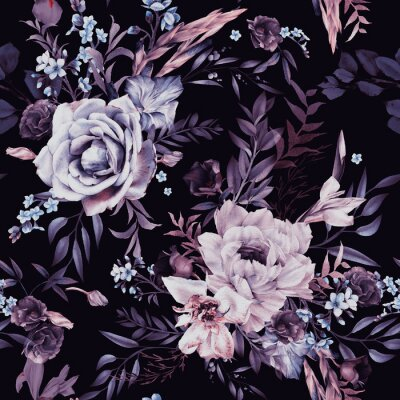 Tapeta Seamless floral pattern with flowers on dark background, watercolor. Template design for textiles, interior, clothes, wallpaper. Botanical art