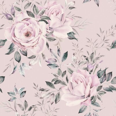 Tapeta Seamless floral pattern with flowers on light background, watercolor. Template design for textiles, interior, clothes, wallpaper. Botanical art