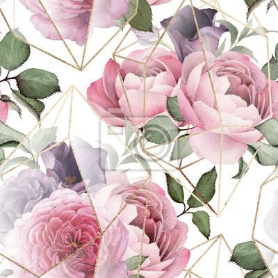Tapeta Seamless floral pattern with flowers on light background, watercolor. Template design for textiles, interior, clothes, wallpaper. The geometry of the crystal. Golden texture