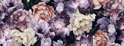 Tapeta Seamless floral pattern with flowers, watercolor