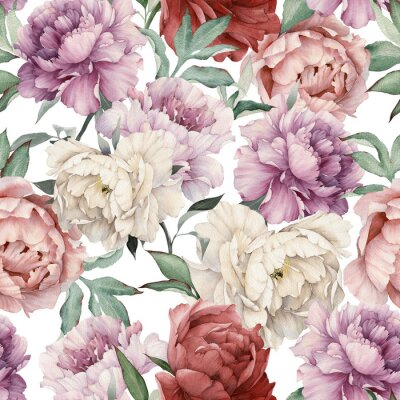 Tapeta Seamless floral pattern with peonies, watercolor.