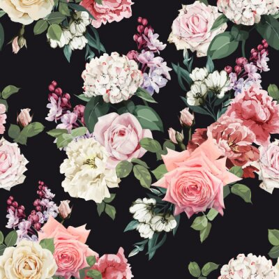 Tapeta Seamless floral pattern with roses, watercolor. Vector illustration.
