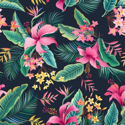 Tapeta seamless floral pattern with tropical leaves and hibiscus on dark background