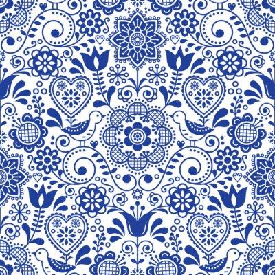 Tapeta Seamless folk art vector pattern with birds and flowers, Scandinavian navy blue repetitive floral design
