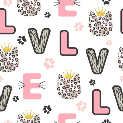 Tapeta Seamless kids pattern with cute leopard cat and letters,