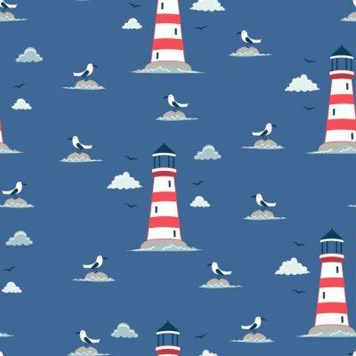 Tapeta seamless lighthouse pattern