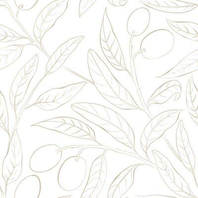 Tapeta Seamless olive pattern on the white background. Vector illustration.
