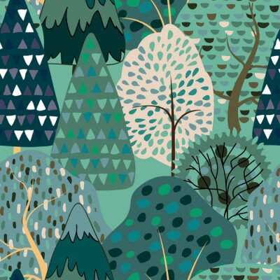 Tapeta Seamless pattern background with stylized summer trees.