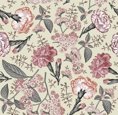 Tapeta Seamless pattern. Beautiful blooming realistic isolated flowers. Vintage background fabric. Carnation clove Heliotrope wildflowers. Wallpaper baroque. Drawing engraving. Vector victorian illustration
