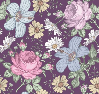 Tapeta Seamless pattern. Beautiful pink blooming realistic isolated flowers. Vintage background. Chamomile Rose hibiscus mallow wildflowers. Wallpaper. Drawing engraving. Vector victorian Illustration.