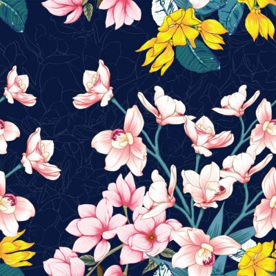Tapeta Seamless pattern botanical pink Orchid,Magnolia and Ylang flowers on abstract dark blue background.Vector illustration drawing watercolor style.For used wallpaper design,textile fabric.
