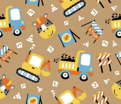 Tapeta seamless pattern cartoon of construction vehicles, construction signs  with a zebra the funny worker