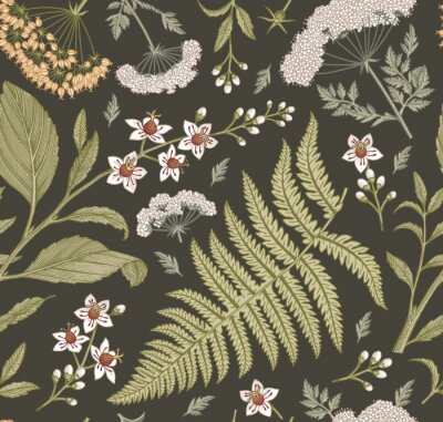 Tapeta Seamless pattern fabric. Beautiful blooming realistic isolated flowers. Vintage background. Set Croton Hemlock fern wildflowers. Wallpaper baroque. Drawing engraving. Vector victorian illustration.