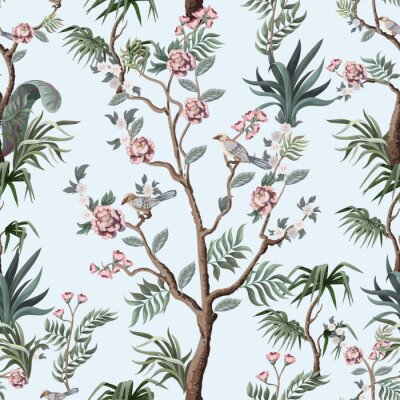 Tapeta Seamless pattern in chinoiserie style with peonies. Vector,