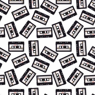 Tapeta Seamless pattern in retro style with audio cassettes