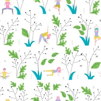 Tapeta Seamless pattern made of Yoga class