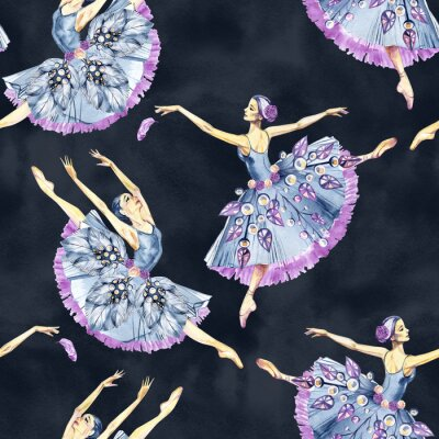 Tapeta Seamless pattern of ballet dancers, watercolor painting. It can be used for card, postcard, cover, invitation, wedding card, mothers day card, birthday card, poster, print.