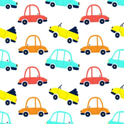 Tapeta Seamless pattern of cute cars, print for fabric, gift paper, textiles, wallpaper. Vector illustration for kids.