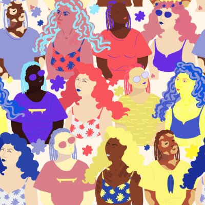 Tapeta Seamless pattern of diverse female faces. Young girls of different races. Flat style vector illustration. Background for cards, posters, brochures, banners, wallpaper, wrapping paper, textille.