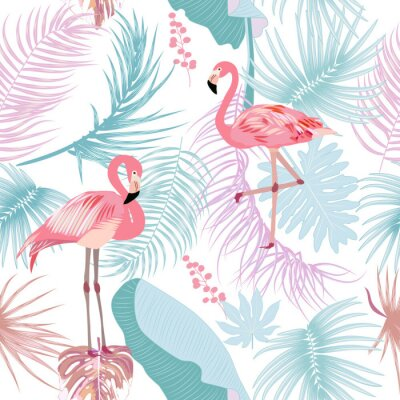 Tapeta Seamless pattern of flamingo, leaves monstera. Tropical leaves of palm tree and flowers.