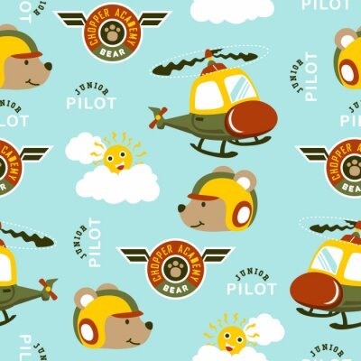 Tapeta seamless pattern of funny helicopter pilot cartoon