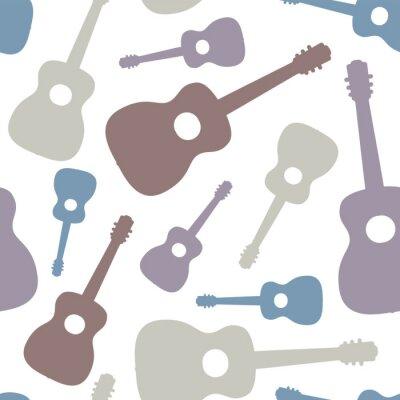 Tapeta Seamless pattern of guitars on white