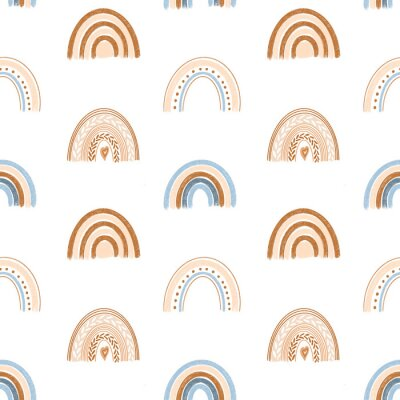 Tapeta Seamless pattern of hand drawn boho rainbow in pastel blue and neutral beige colors on white background