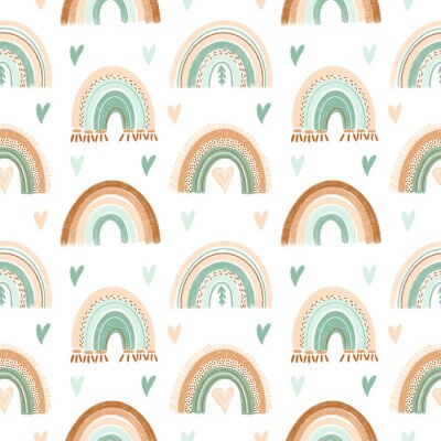 Tapeta Seamless pattern of hand drawn hearts and boho rainbow in pastel mint and neutral beige colors on white background