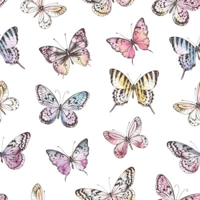Tapeta Seamless pattern of Hand Drawn silhouette butterflies with watercolor texture. Vector illustration in vintage style