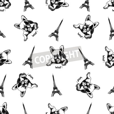 Tapeta Seamless pattern of hand drawn sketch style Eiffel Tower and french bulldog isolated on white background.