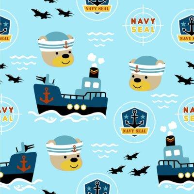 Tapeta seamless pattern of navy seal cartoon
