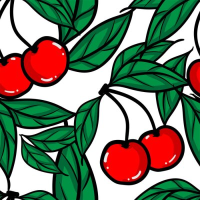 Tapeta Seamless Pattern of red cherry with leaves.