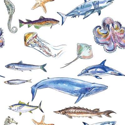 Tapeta Seamless pattern of sea animals