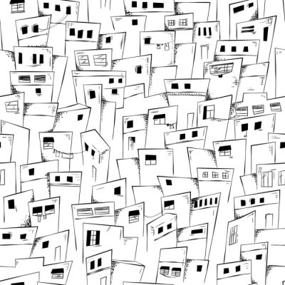 Tapeta Seamless pattern of slum city in black and white. Vector background