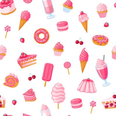 Tapeta seamless pattern of sweet food. Donut, ice cream, muffins, smoothies, macaroons and candies with with pink, chocolate, blue mint, lemon and blueberry topping.Texture for fabric, wrapping, wallpaper.