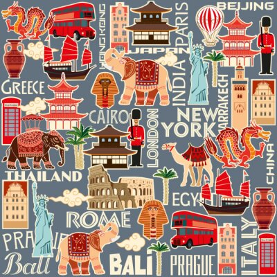 Tapeta Seamless pattern of tourist attractions and objects of different countries. Vector color graphics