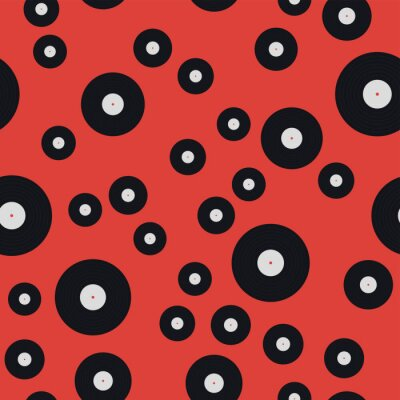 Tapeta Seamless pattern of vinyl records