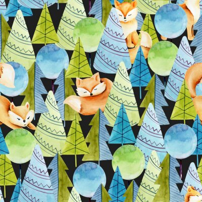 Tapeta Seamless pattern of watercolor cute foxes and simple spruces, hand drawn on a dark background