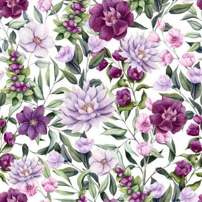 Tapeta Seamless Pattern of Watercolor Flowers, Berries and Leaves