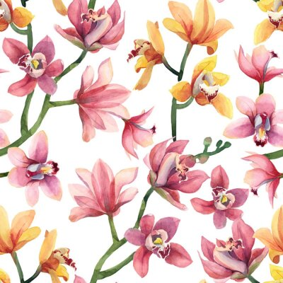 Tapeta Seamless pattern of yellow, rose orchid flowers and leaves isolated on white background.