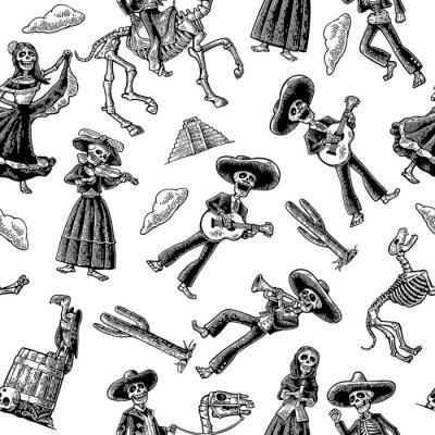 Tapeta Seamless pattern skeleton in Mexican national costumes. Vintage vector black engraving