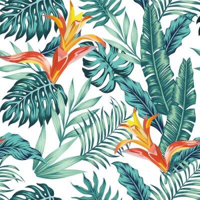 Tapeta Seamless pattern tropical leaves flowers white background