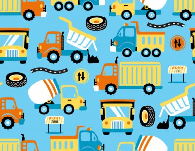 Tapeta seamless pattern vector of trucks cartoon with traffic signs