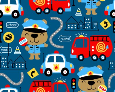 Tapeta seamless pattern vector of vehicles cartoon with funny cop