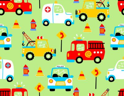 Tapeta seamless pattern vector with rescue vehicles cartoon