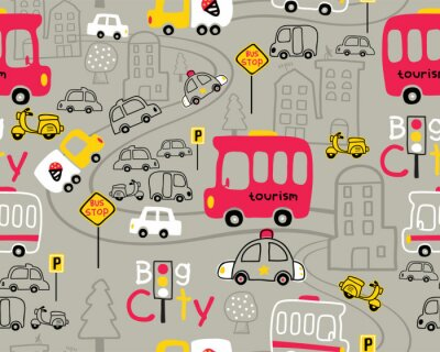 Tapeta Seamless pattern vector with vehicles cartoon in city road