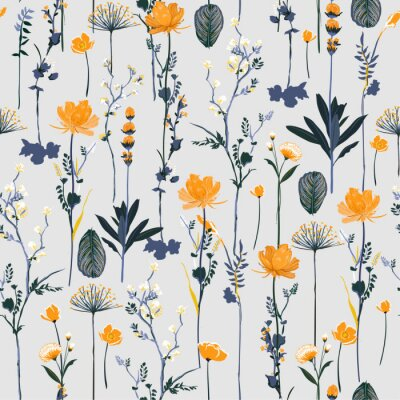 Tapeta Seamless pattern vertical repeat in vector Soft and gentle botanical blooming garden flowers design
