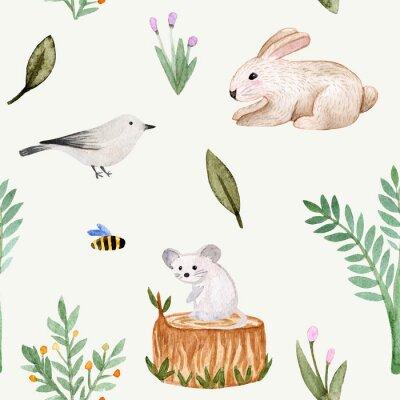 Tapeta Seamless pattern. Watercolor hare, bird, mouse, stump, bush, bee, tree, flowers, leaves, branches, rabbit.